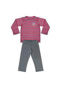 Pijama Look Jeans Menino Longo Vermelho