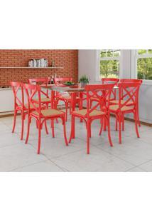 Conjunto De Mesa De Jantar Com 8 Cadeiras E Tampo De Vidro Katrina Vermelho
