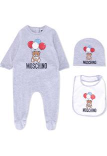 Moschino Kids Conjunto De Macacão, Babador E Gorro - Cinza
