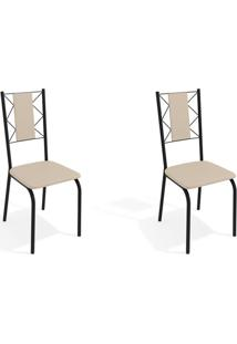 Conjunto Com 2 Cadeiras De Cozinha Lisboa Preto E Nude
