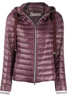 Herno Stripe-Cuff Quilted-Down Jacket - Roxo