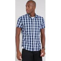 dd7f8a9110 Camisa Masculina Slim Estampada Xadrez Manga Curta Azul Marinho