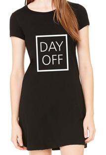Vestido Criativa Urbana Estampado Frases Day Off - Feminino