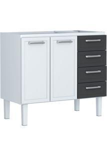 Gabinete Para Cozinha 120Cm Aço Apolo Flat Branco E Preto 117,2X91X50Cm - Cozimax - Cozimax