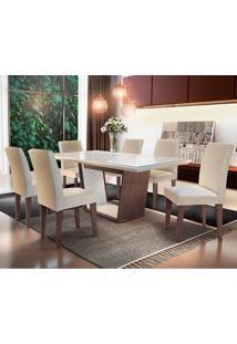 Conjunto De Mesa Sofia Com 6 Cadeiras Grécia-Rufato - Veludo Creme / Off White / Café