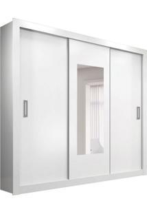 Guarda-Roupa Casal Com Espelho Manaus 3 Pt Branco