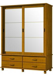 Guarda Roupa Finestra Esmeralda 1417 2 Portas De Correr C/Espelho Teca