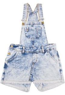 Jardineira Infantil Bobbylulu Smile Feminino - Feminino-Azul