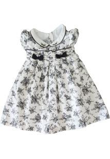Vestido Póssum Festa Infantil Em Tricoline Floral Miúdo E Preto