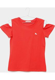 Camiseta Infantil Acostamento Feminina - Feminino-Vermelho