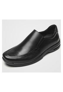 Sapato Social Couro Democrata Elástico Preto