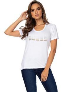 Camiseta Guess Logo Strass Feminino - Feminino-Branco