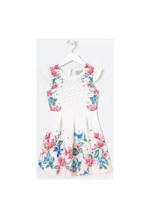 Vestido Infantil Estampa Floral Com Pregas E Strass - Tam 5 A 4 Anos | Fuzarka (5 A 14 Anos) | Branco | 13-14