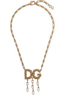 Dolce & Gabbana Colar Com Pingente De Logo - Dourado