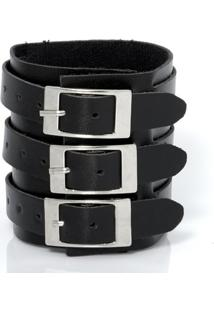 Bracelete Galeria Do Rock Três Fivelas - Unissex-Preto