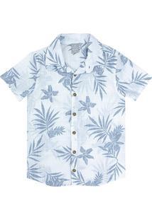 Camisa Juvenil Hering Floral Manga Curta Masculina - Masculino-Azul Claro