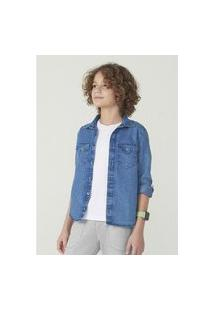 Camisa Hering Kids Em Jeans Manga Longa Azul