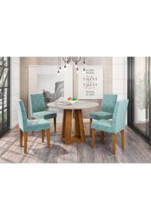 Conjunto De Mesa De Jantar Com Tampo De Vidro Isabela E 4 Cadeiras Giovana Animalle Carrara E Azul