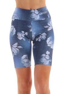 Bermuda Veo Manly Feminina - Feminino-Azul Claro+Branco