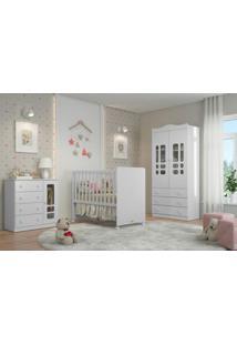 Jogo De Quarto Completo Baby Infantil Matic Móveis Roupeiro Cômoda Berço Branco Brilho