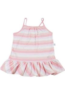 Vestido Infantil Meia Malha Listrada Az Perolas - Rosa 1