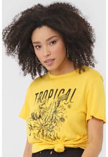 Camiseta Colcci Botanical Amarela - Amarelo - Feminino - Viscose - Dafiti