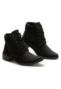 Bota Casual Cano Curto Option Shoes Feminina Preto