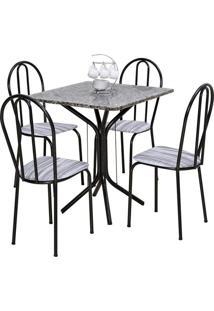Conjunto De Mesa Thais Com 4 Cadeiras Craqueado Preto Linho