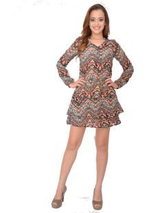 Vestido Urban Lady Em Crepe Estampado Geométrico Marrom