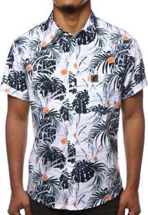 Camisa Camaleão Urbano Folhagem Tropical Masculina - Masculino-Branco