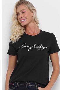 Camiseta Tommy Hilfiger Logo Básica Feminina - Feminino-Preto