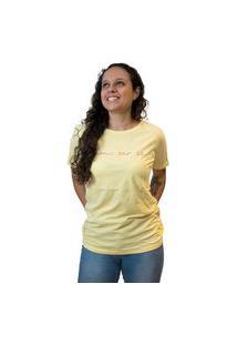 Camiseta Feminina Nego Joe Lettering Um Ser Só - Amarela E Rosa Multicolorido