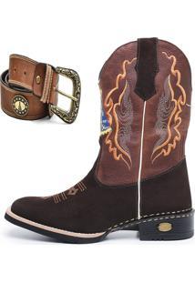 Bota Click Calã§Ados Texana Country Nossa Senhora Aparecida Com Cinto - Caramelo/Marrom - Masculino - Couro - Dafiti
