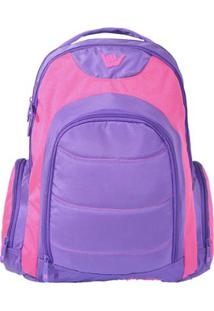 Bolsa Média Casual Bicolor Macadamia - Feminino-Pink+Roxo