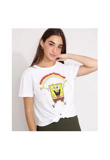 Camiseta Cropped De Algodão Bob Esponja Com Arco-Íris E Nó Manga Curta Decote Redondo Branca