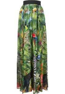 Dolce & Gabbana Saia Longa Com Estampa De Selva - Verde
