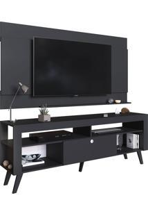 Home C/ Bancada E Painel Para Tv Até 70 Pol. Itália Preto Artinmóveis - Tricae