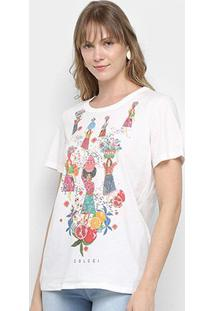 Camiseta Colcci Tropical Feminina - Feminino-Off White