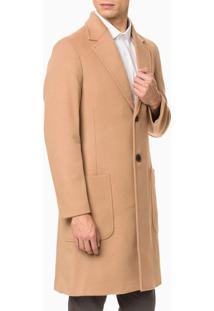 Casaco Longo Calvin Klein Cashmere E Lã - Caqui Medio - P