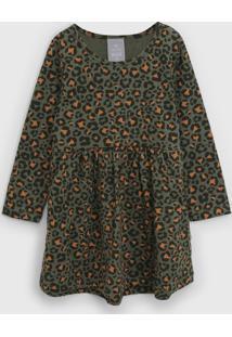 Vestido Hering Kids Infantil Onça Verde/Laranja