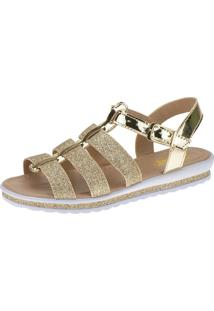 Sandália Anabela Slim Infantil Menina Fashion 69.04.033 - Dourado