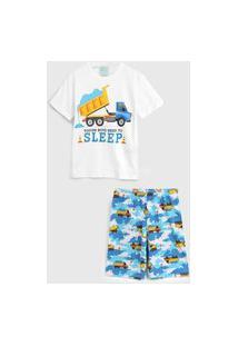 Pijama Kyly Curto Infantil Caminhão Branco/Azul