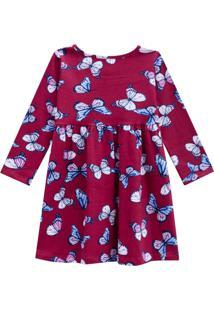 Vestido Kinha Primeiros Passos Em Cotton Outono Inverno 03 Rosa Escuro