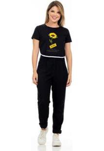 T-Shirt Cropped Clara Arruda Viés Estampada Feminino - Feminino-Preto
