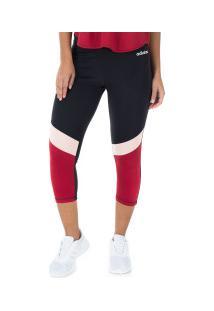 Calça Corsário Adidas D2M Cb R 34 Tight - Feminina - Preto/Vermelho