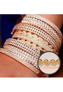 Bracelete Ondas Cravejado Com Zircônias Brancas Folheado A Ouro