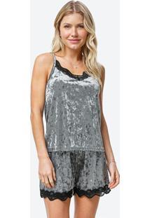 Pijama Cinza Curto Em Veludo Molhado