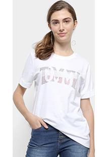 Camiseta Tommy Hilfiger Tyara C-Nk Tee Feminina - Feminino-Branco