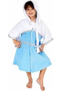 Roupão Infantil Kristal Lé Com Cré Feminino - Feminino-Azul Claro