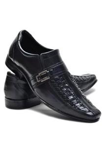 Sapato Social Masculino Em Couro Leoppe 1605 Preto